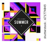 trendy vector summer cards... | Shutterstock .eps vector #671774845