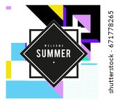 trendy vector summer cards... | Shutterstock .eps vector #671778265