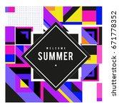 trendy vector summer cards... | Shutterstock .eps vector #671778352