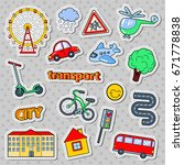 Children Transport Doodle With...