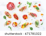 traditional spanish tapas on... | Shutterstock . vector #671781322