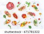 traditional spanish tapas on...   Shutterstock . vector #671781322