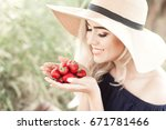 smiling blonde woman 24 26 year ...   Shutterstock . vector #671781466