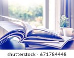selective focus of the stacking ... | Shutterstock . vector #671784448