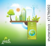 save the world vector ecology... | Shutterstock .eps vector #671786002