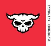 vector skull with horns | Shutterstock .eps vector #671786128
