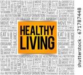 healthy living word cloud... | Shutterstock .eps vector #671787448
