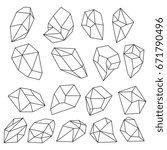 diamond 3d shapes. natural...   Shutterstock .eps vector #671790496