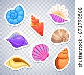Sea Shells Stickers Vector Set. ...