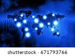 global network business dark... | Shutterstock . vector #671793766