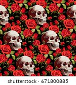 seamless halloween pattern with ... | Shutterstock .eps vector #671800885