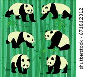 set of vector pandas in... | Shutterstock .eps vector #671812312