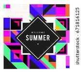 trendy vector summer cards... | Shutterstock .eps vector #671816125