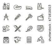 office stationery icon set.... | Shutterstock .eps vector #671818315
