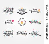 cute and funny happy birthday... | Shutterstock .eps vector #671820946