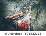 gold mining underground | Shutterstock . vector #671822116