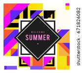 trendy vector summer cards... | Shutterstock .eps vector #671826082