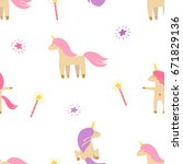 cute pattern of unicorns and...   Shutterstock .eps vector #671829136