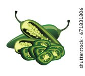 slices of raw green jalapeno... | Shutterstock .eps vector #671831806