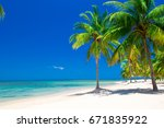 beautiful beach and tropical sea | Shutterstock . vector #671835922