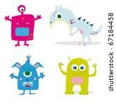 set of cute cartoon monsters.... | Shutterstock .eps vector #67184458