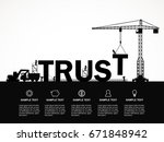 crane and trust building.... | Shutterstock .eps vector #671848942