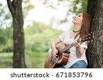 asian women are practicing... | Shutterstock . vector #671853796