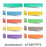 sticky note with flat color .... | Shutterstock .eps vector #671857972