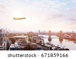 travel to london by flight ... | Shutterstock . vector #671859166