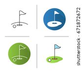golf course icon. flat design ... | Shutterstock .eps vector #671872672