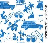 surfing paradise seamless...   Shutterstock .eps vector #671876785
