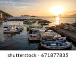 Sea Sunset Fishing Boats In Th...