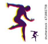 silhouette of a dancer. gymnast.... | Shutterstock .eps vector #671882758