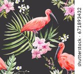 watercolor tropical pattern... | Shutterstock . vector #671893432