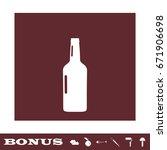 beer bottle icon flat. white...