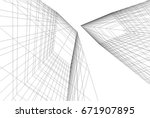 abstract architecture 3d   Shutterstock .eps vector #671907895