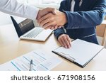 job applicant having interview  ... | Shutterstock . vector #671908156