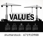 crane and values building.... | Shutterstock .eps vector #671910988