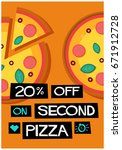 20  off on second pizza poster... | Shutterstock .eps vector #671912728
