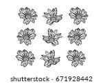 white background with flowers... | Shutterstock . vector #671928442