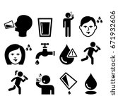 Thirsty man, dry mouth, thirst, people drinking water icons set  | Shutterstock vector #671932606