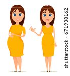 cute pregnant woman in yellow... | Shutterstock .eps vector #671938162