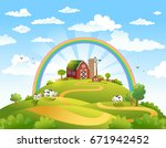 rural scene with the farm ... | Shutterstock .eps vector #671942452