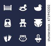 set of 9 kid icons set... | Shutterstock .eps vector #671943202