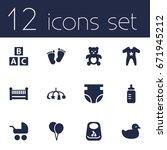 Set Of 12 Kid Icons Set...