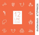 set of 12 bio outline icons set.... | Shutterstock .eps vector #671946616