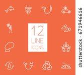 set of 12 bio outline icons set.... | Shutterstock .eps vector #671946616