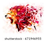 Stock photo low polygon lion geometric pattern explode water color filter lion angry 671946955