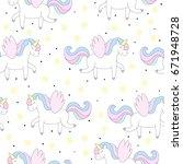 cute hand drawn unicorn vector... | Shutterstock .eps vector #671948728