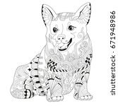 dog zentangle styled with clean ... | Shutterstock .eps vector #671948986